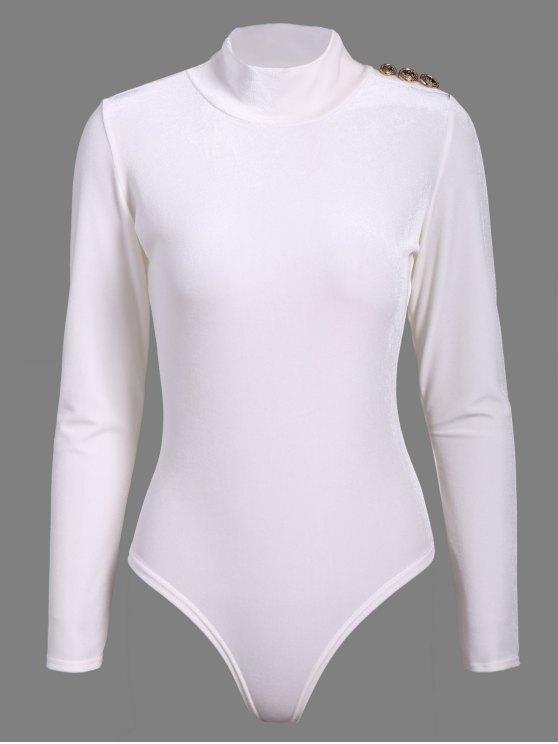 Turtle Neck Velvet Bodysuit - WHITE M Mobile