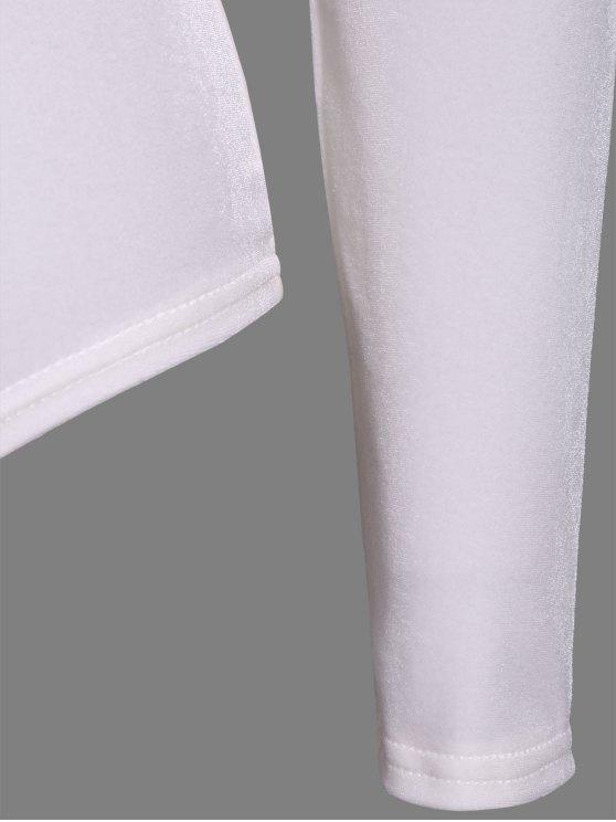Turtle Neck Velvet Bodysuit - WHITE S Mobile