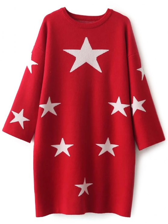 Stars Jacquard Sweater Dress - RED ONE SIZE Mobile