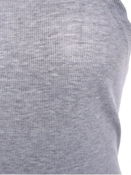 High Neck Backelss Bodysuit - GRAY L Mobile
