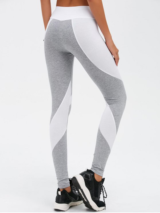 Slimming Stretchy Contrast Athletic Pants - LIGHT GRAY XL Mobile