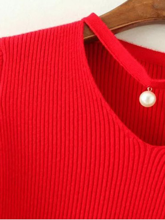 Choker Ribbed Sweater - RED ONE SIZE Mobile