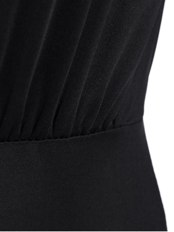 Ruched Split Sleeve Bodysuit - BLACK XL Mobile