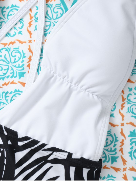 Leaf Print Low Cut Swimwear - WHITE XL Mobile