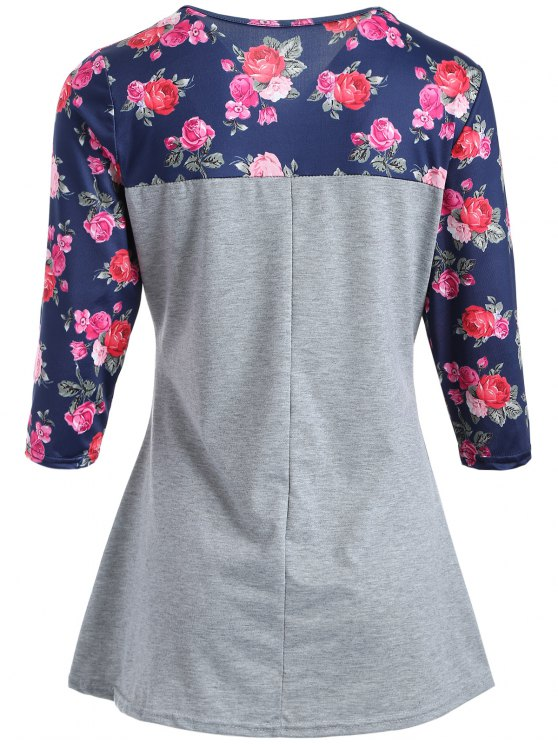 Loose Floral Tee - GRAY L Mobile