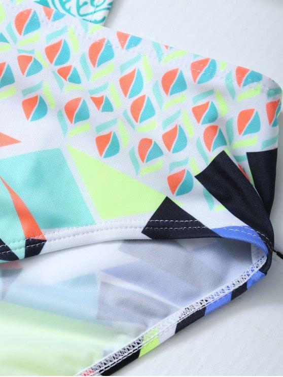 Geometric Lace-Up Bikini Set - COLORMIX L Mobile