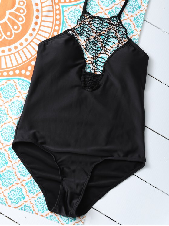 Cut Out One-Piece Swimwear - BLACK S Mobile