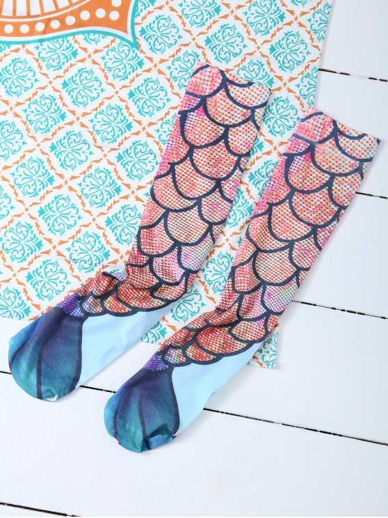Skinny Mermaid Print Stockings -   Mobile