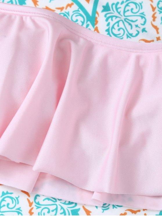 Padded Ruffles Top With Cutout Briefs Bikini - PINK S Mobile