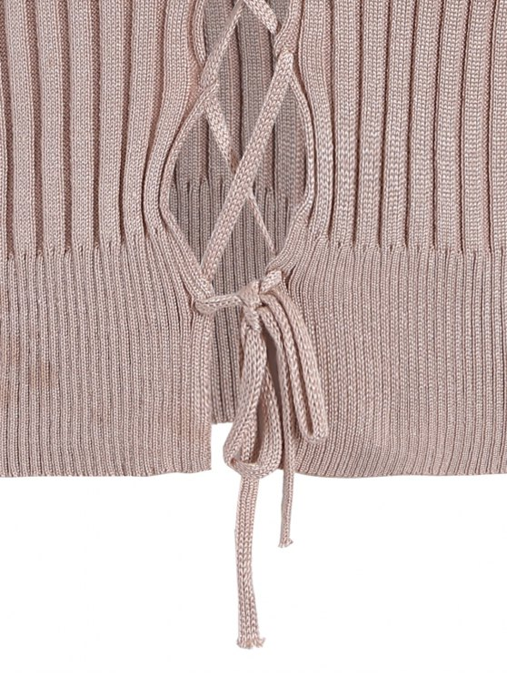Ribbed Deep V Neck Jumper - APRICOT ONE SIZE Mobile