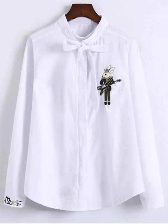Patched Bowknot Shirt - WHITE L Mobile
