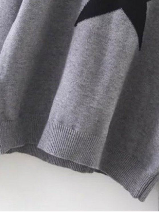 Hooded Star Graphic Sweater - GRAY ONE SIZE Mobile