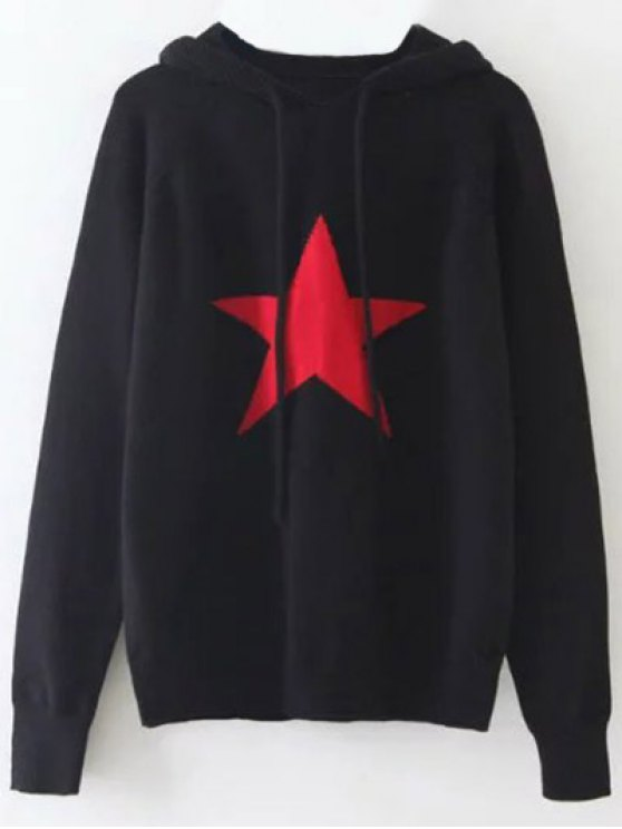 Hooded Star Graphic Sweater - BLACK ONE SIZE Mobile