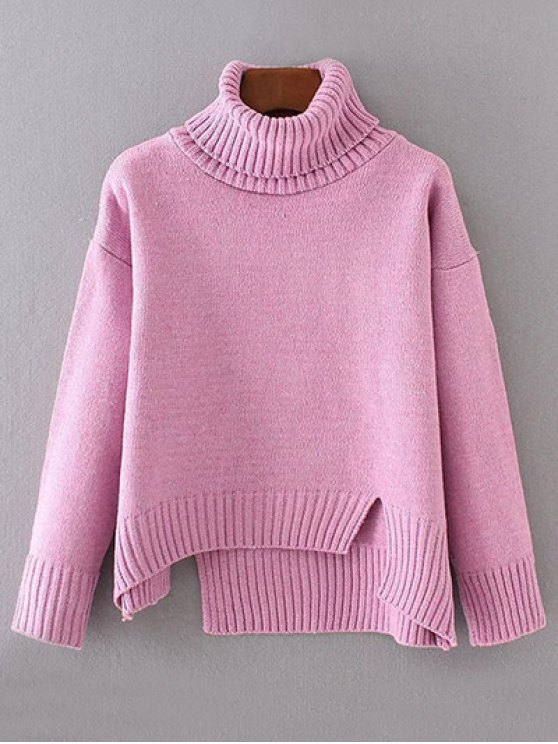 Side Slit Asymmetric Sweater - PINK ONE SIZE Mobile