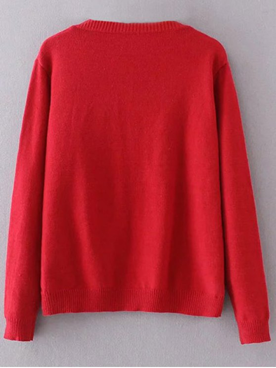 Embroidered V Neck Sweater - RED ONE SIZE Mobile
