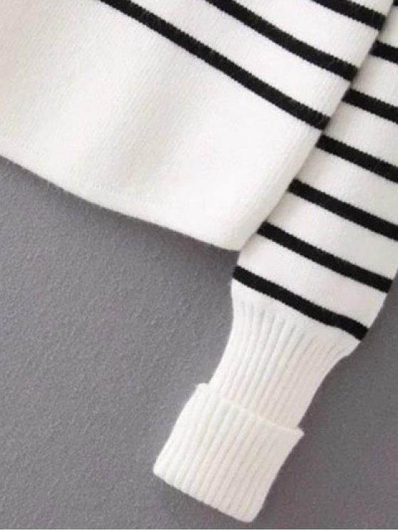 Striped Mock Neck Sweater - WHITE L Mobile