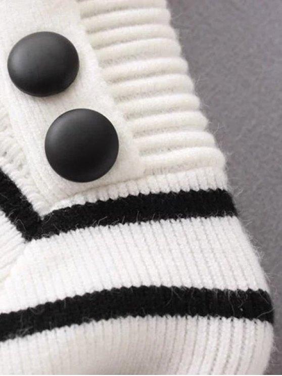 Striped Mock Neck Sweater - BEIGE L Mobile