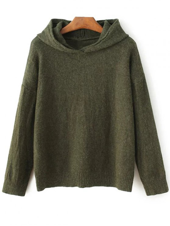 Long Sleeve Hoodie Sweater - ARMY GREEN ONE SIZE Mobile