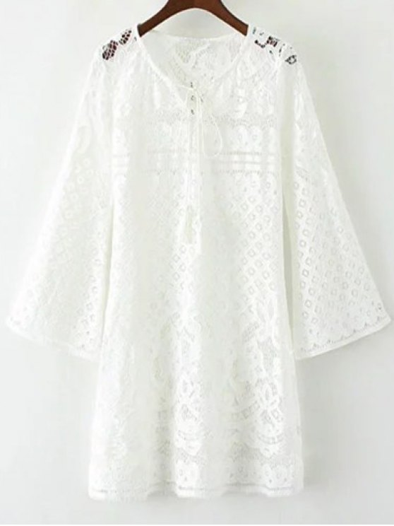 women's V Neck Bell Sleeve Lace Dress - WHITE S