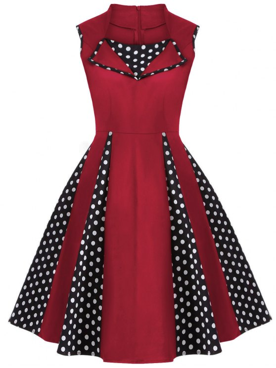 Vintage mangas Polka Dot Dress - Rojo 4XL