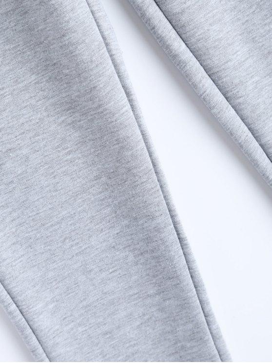 Zip Design Drawstring Sweatpants - LIGHT GRAY XL Mobile