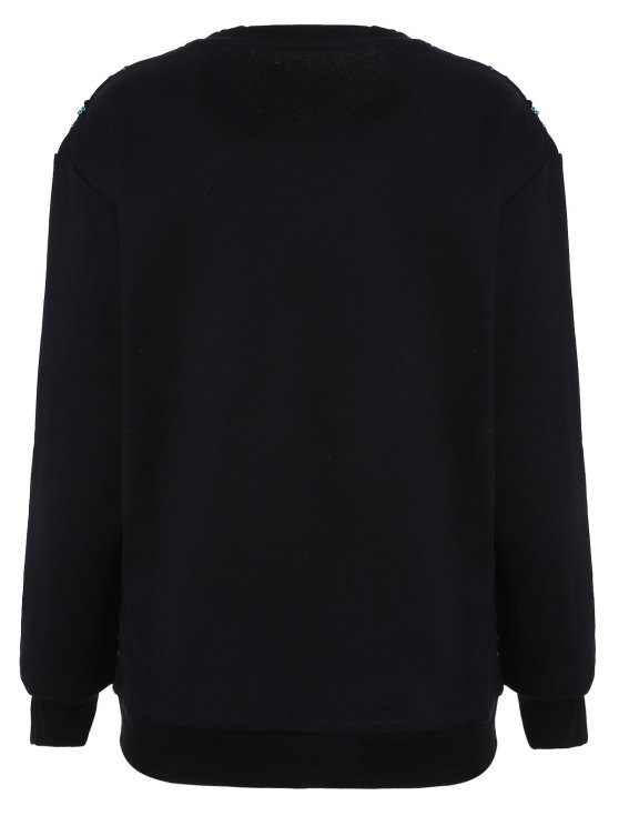 Embroidered Sequined Sweatshirt - BLACK M Mobile