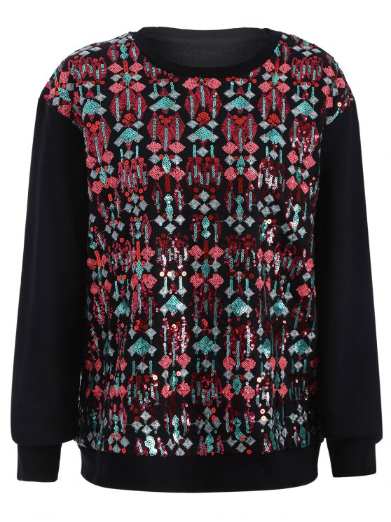 Embroidered Sequined Sweatshirt - BLACK L Mobile