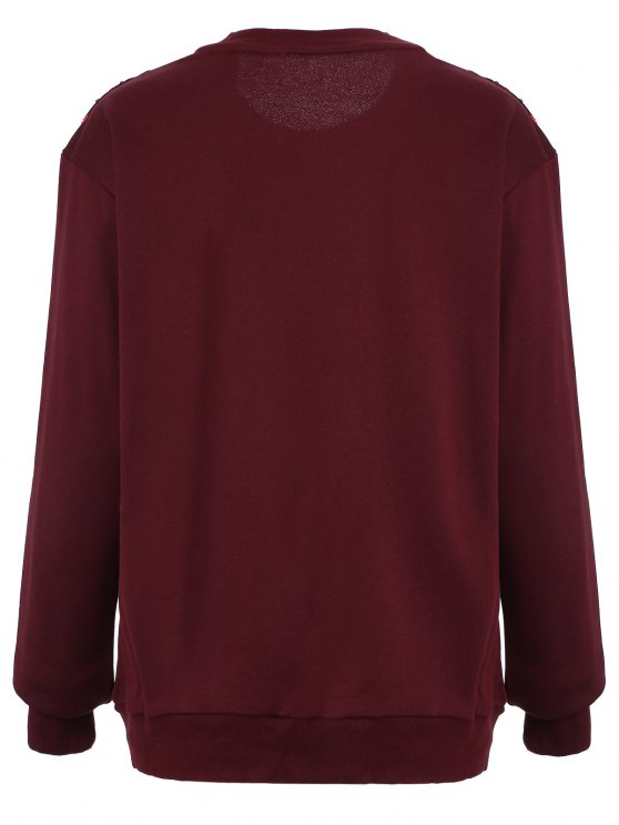 Embroidered Sequined Sweatshirt - WINE RED L Mobile