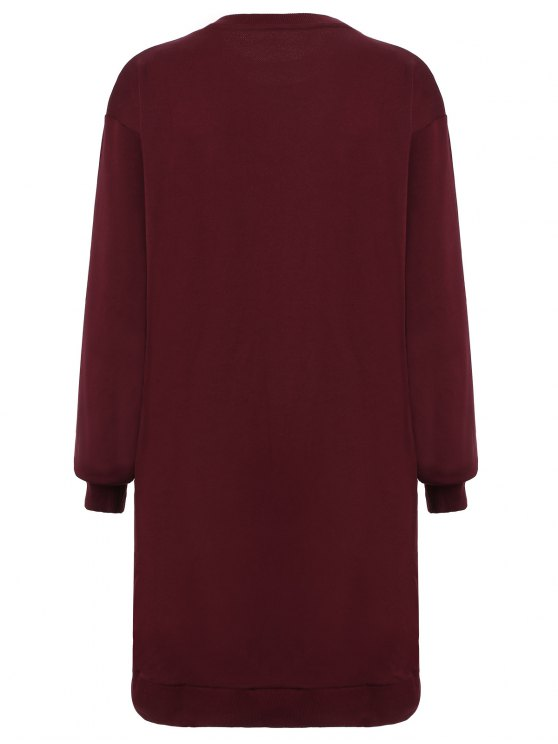 Embroidered Sequined Long Sleeve Dress - WINE RED M Mobile