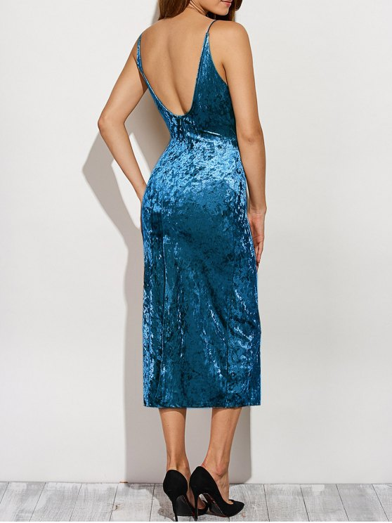 Back Slit Velvet Cami Pencil Dress - BLUE L Mobile