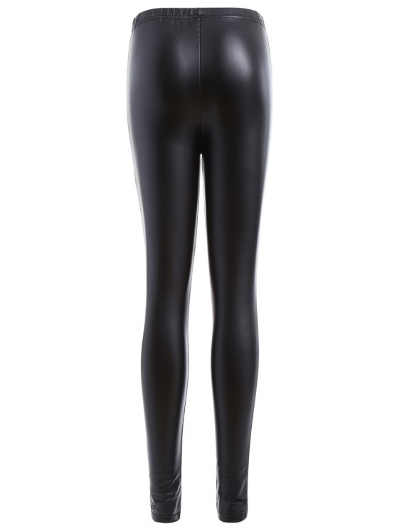 Distressed Faux Leather Leggings - BLACK XL Mobile