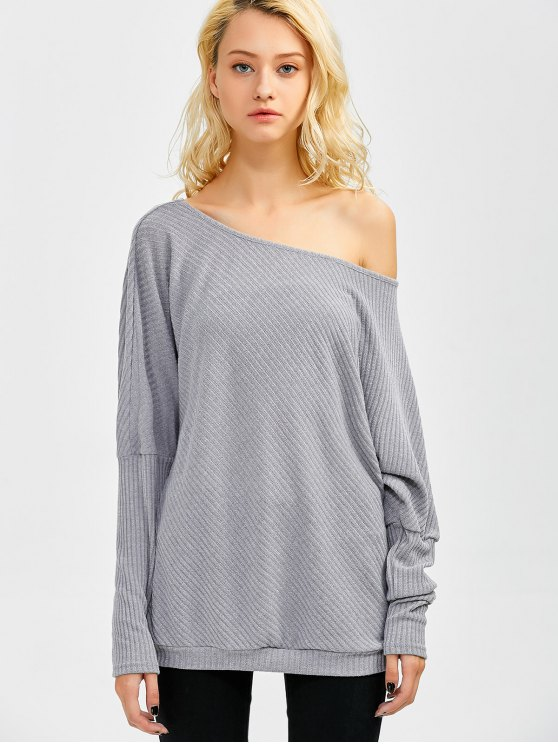 Asymmetric Neckline Batwing Sweater - GRAY M Mobile
