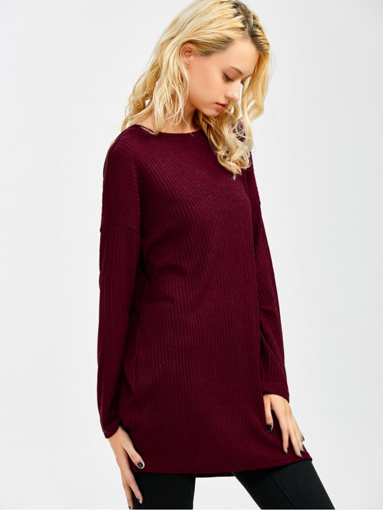 Skew Neck Long Sleeve Jumper - WINE RED L Mobile