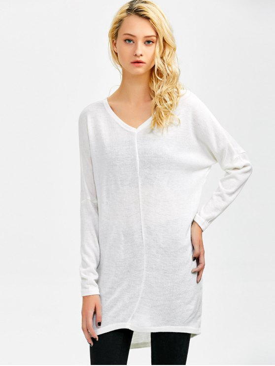 V Neck Batwing Sleeve Sweater - WHITE M Mobile