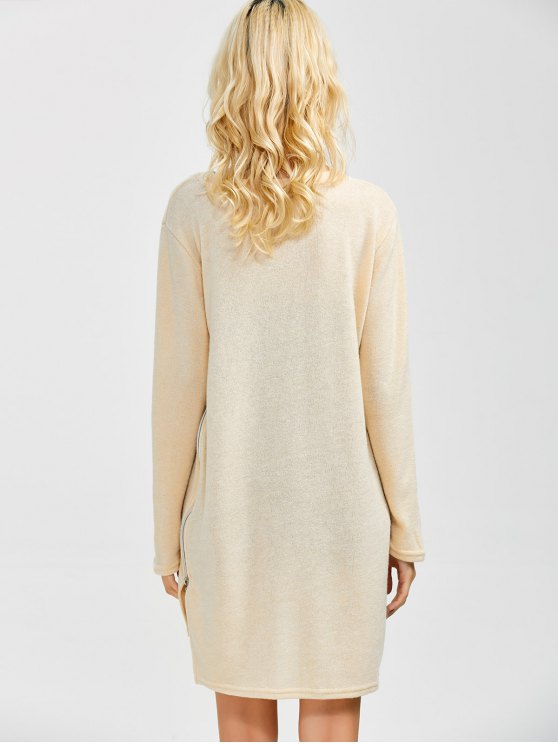 Side Zipper Sweater Dress - BEIGE M Mobile