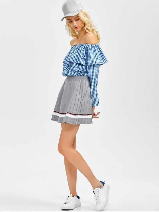 Gingham Check Off The Shoulder Blouse - BLUE XL Mobile