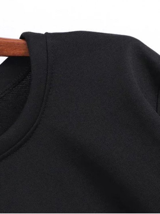 Geometric Embroidered Sweatshirt - BLACK M Mobile