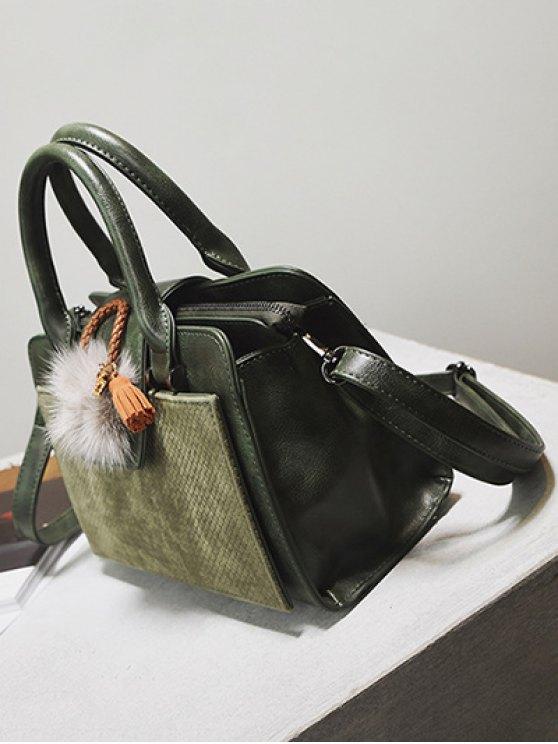 Pompon Suede Panel Handbag - GREEN  Mobile