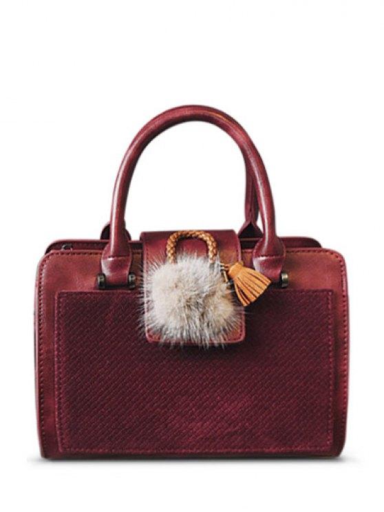 Pompon Suede Panel Handbag - RED  Mobile