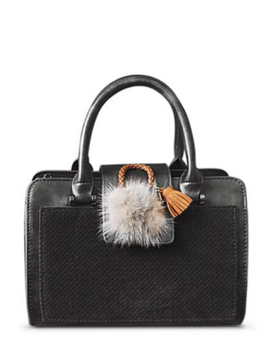 Pompon Suede Panel Handbag -   Mobile