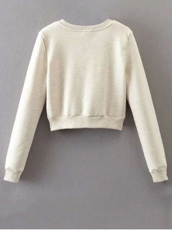 Lace Up Cropped Pullover Sweatshirt - OFF-WHITE M Mobile
