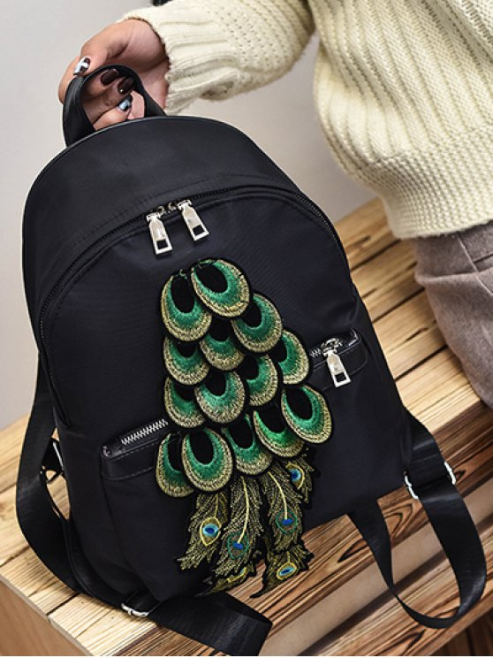 Peacock Feather Appliques Backpack -   Mobile