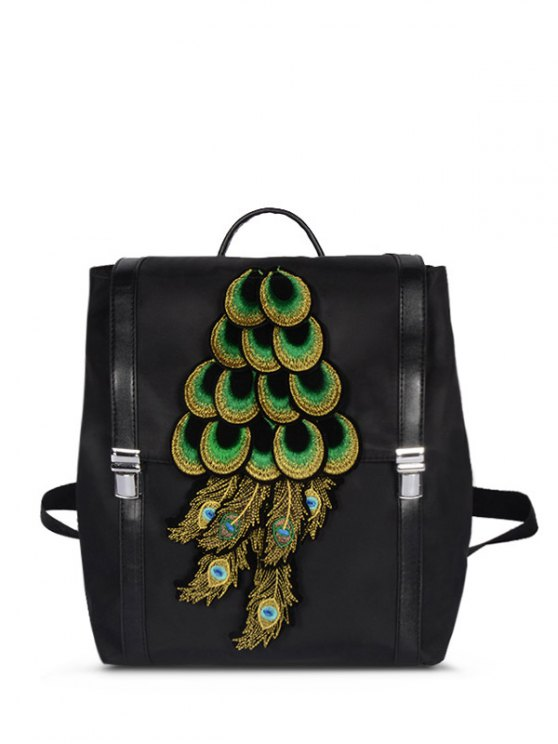 Peacock Appliques NylonBackpack -   Mobile