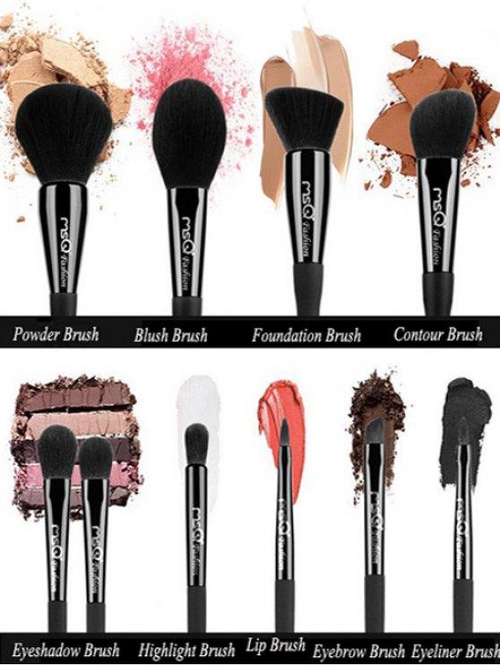 10 Pcs Fiber Makeup Brushes Set with Magnet Brush Holder - BLACK  Mobile