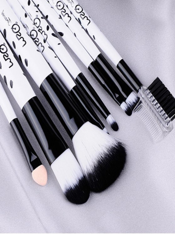8 Pcs Daily Cow Print Makeup Brushes Kit - WHITE  Mobile