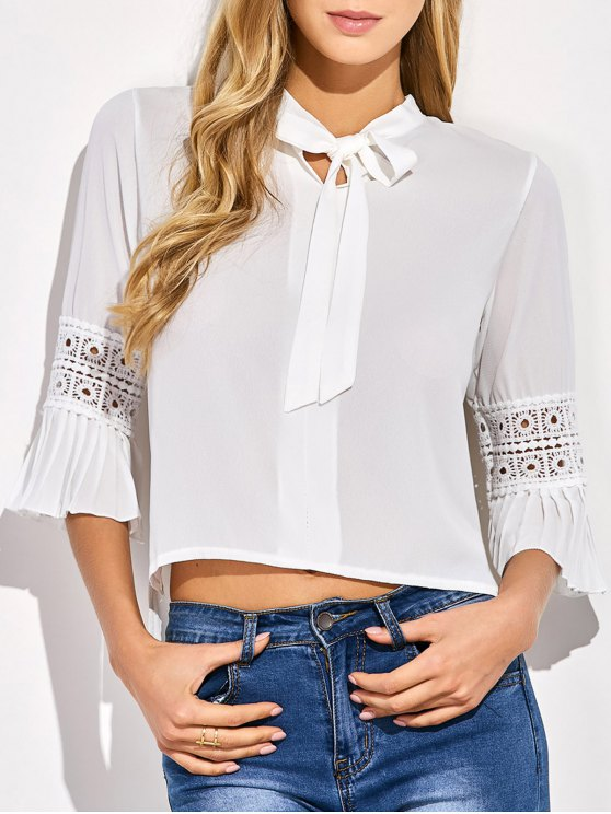 Bowknot Flare Sleeve Blouse - WHITE ONE SIZE Mobile