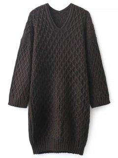 Kimono Sleeve Sweater Dress - Coffee
