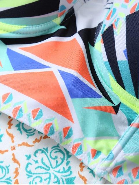womens Geometric Lace-Up Bikini Set - COLORMIX L Mobile