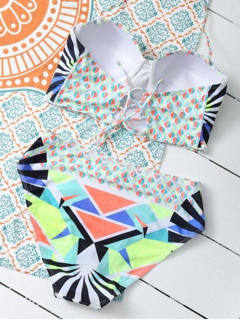 women's Geometric Lace-Up Bikini Set - COLORMIX S Mobile