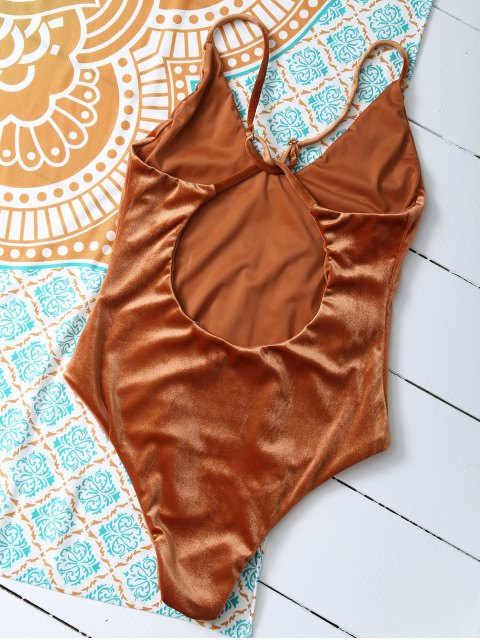 shops Reversible Cross Back Pleuche Swimwear - ORANGE M Mobile